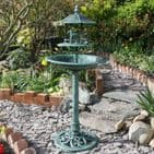 Green Bird Bath With Feeding Table Nature's Market Kingfisher